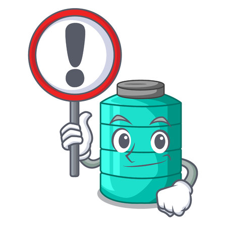 With sign cartoon big industrial water tank container vector illustration Ilustração