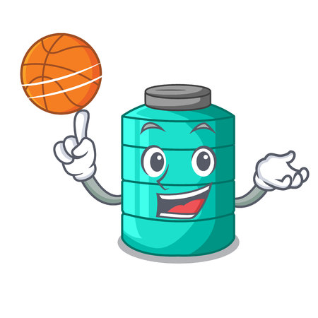 With basketball cartoon big industrial water tank container vector illustration
