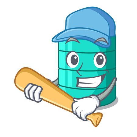 Playing baseball cartoon big industrial water tank container vector illustration