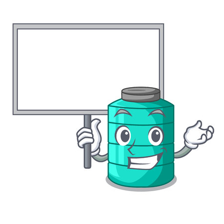 Bring board cartoon big industrial water tank container vector illustration Ilustração