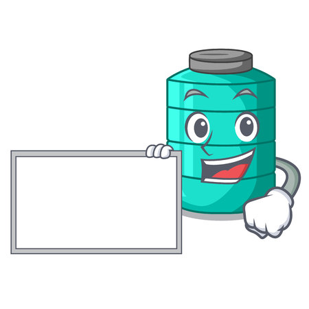 With board cartoon big industrial water tank container vector illustration
