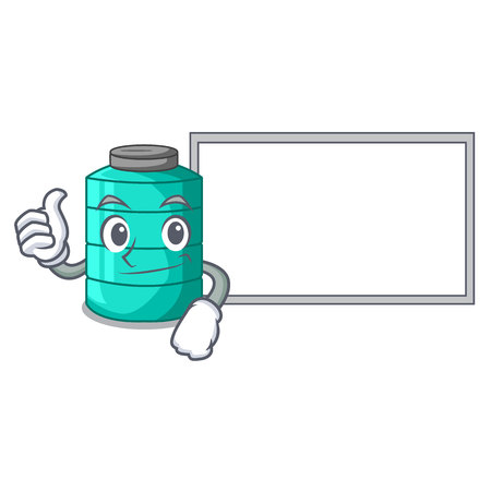 Thumbs up with board cartoon big industrial water tank container vector illustration