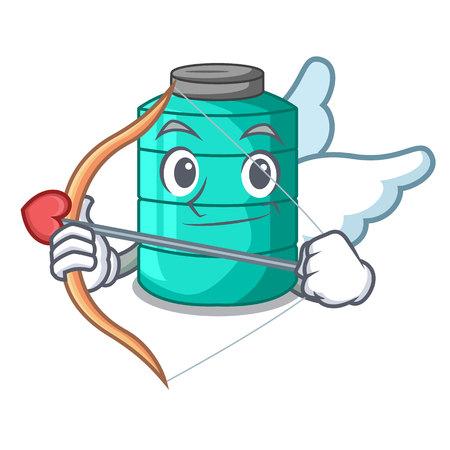 Cupid cartoon big industrial water tank container vector illustration