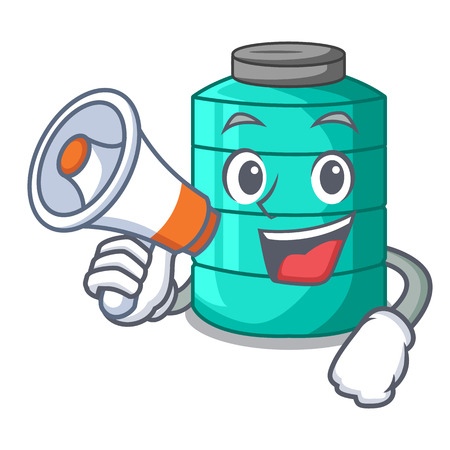 With megaphone cartoon big industrial water tank container vector illustration