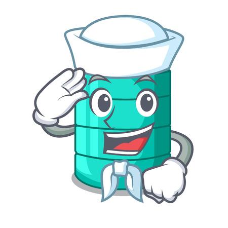 Sailor cartoon big industrial water tank container vector illustration