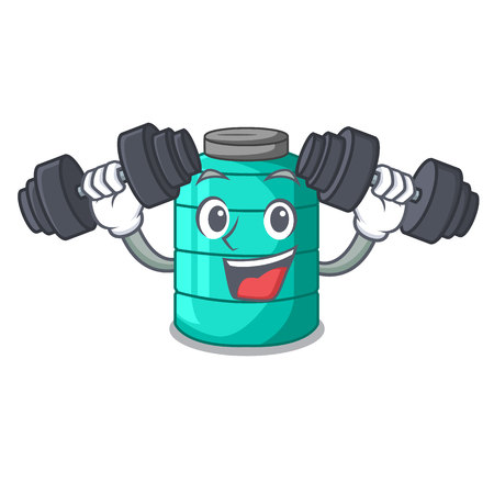 Fitness cartoon big industrial water tank container vector illustration