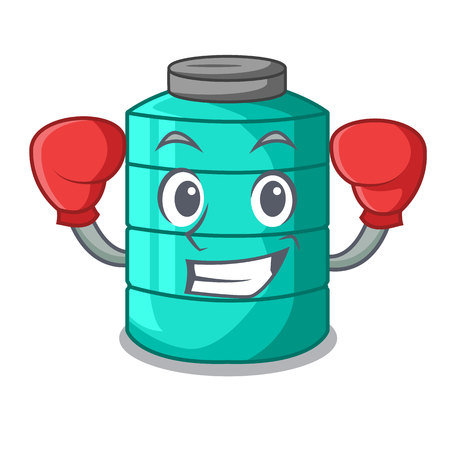 Boxing cartoon big industrial water tank container vector illustration