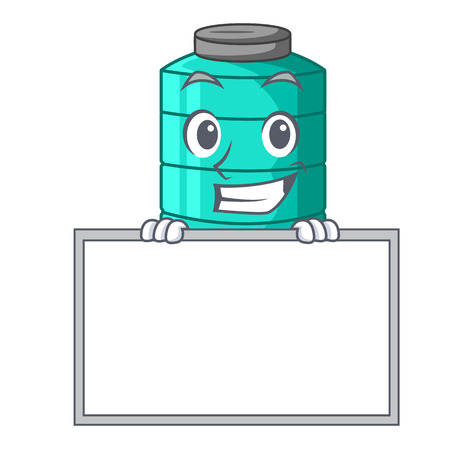 Grinning with board cartoon big industrial water tank container vector illustration Ilustração