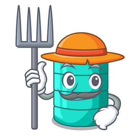 Farmer cartoon big industrial water tank container vector illustration