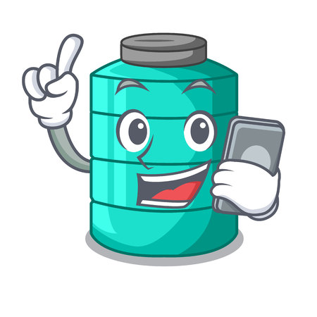 With phone cartoon big industrial water tank container vector illustration