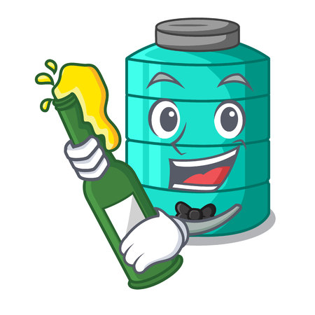 With beer cartoon water tank for in agriculture vector illustration Illustration