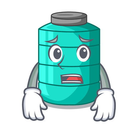 Afraid cartoon water tank on the tower vector illustration