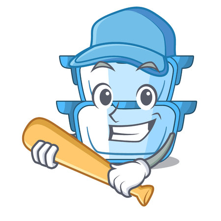 Playing baseball double boiler for the gas cooker cartoon vector illustration