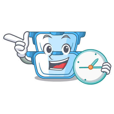With clock double boiler character for the steaming food vector illustration Ilustração