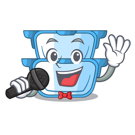 Singing cartoon double boiler for the cooking vector illustration