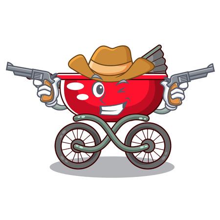 Cowboy cartoon baby stroller walk in the park vector illustration Ilustração