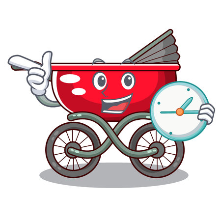 With clock cartoon baby stroller in the beach 스톡 콘텐츠