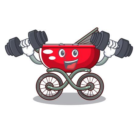 Fitness cartoon baby stroller walk in the park vector illustration