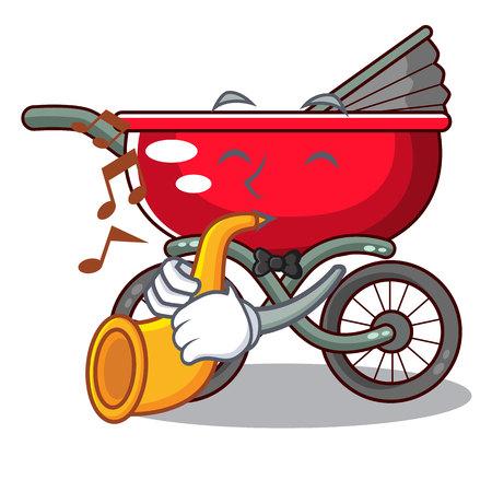 Avec trompette bébé assis dans une illustration de vecteur de dessin animé bébé poussette