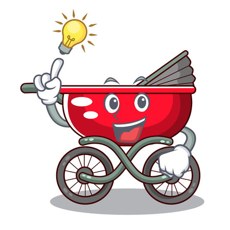 Have an idea modern baby stroller isolated against mascot vector illustration