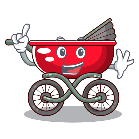 Finger modern baby stroller isolated against mascot vector illustration
