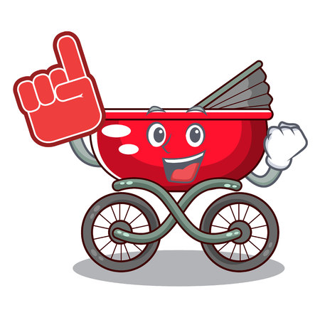 Foam finger modern baby stroller isolated against mascot vector illustration