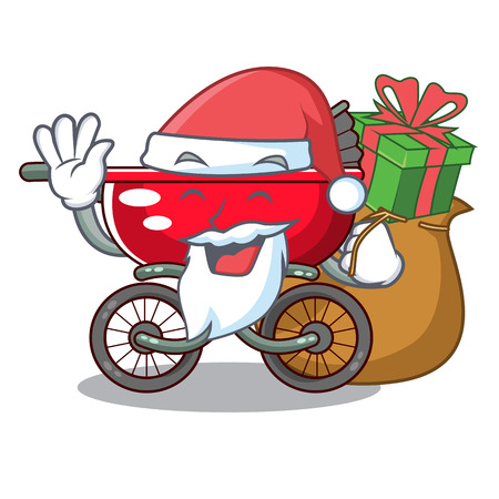 Santa with gift modern baby stroller isolated against mascot