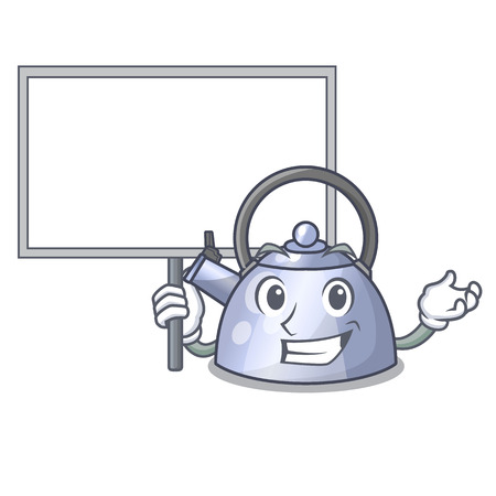 Bring board cartoon whistling kettle for gas cooker vector illustration