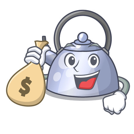 With money bag cartoon whistling kettle for gas cooker vector illustration