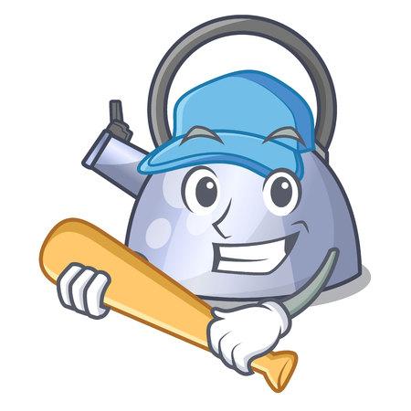 Playing baseball cartoon whistling kettle for gas cooker vector illustration Stock Illustratie