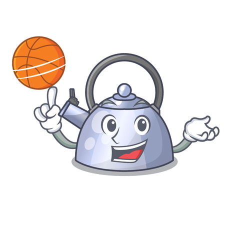 With basketball cartoon whistling kettle for gas cooker vector illustration