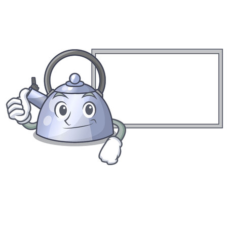 Thumbs up with board cartoon whistling kettle for gas cooker vector illustration Stock Illustratie