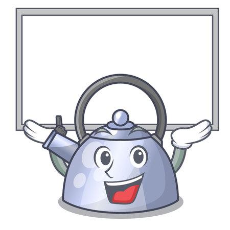 Up board cartoon whistling kettle for gas cooker vector illustration