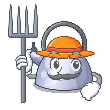 Farmer cartoon whistling kettle for gas cooker vector illustration