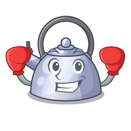 Boxing cartoon whistling kettle for gas cooker vector illustration