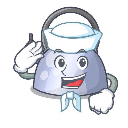 Sailor cartoon whistling kettle for gas cooker vector illustration Stock Illustratie