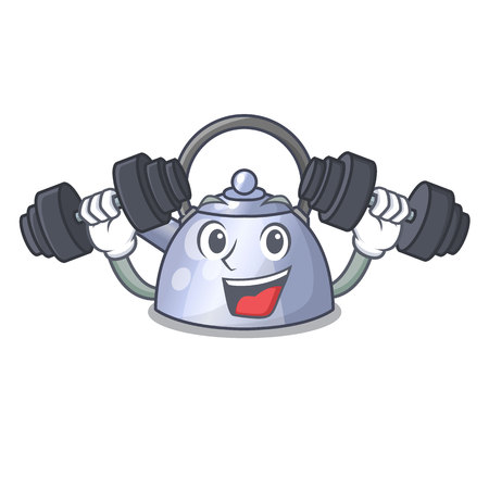 Fitness cartoon whistling kettle for gas cooker vector illustration