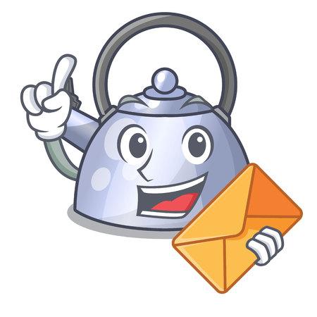With envelope steel whistling kettle character to make drink vector illustration Vector Illustratie