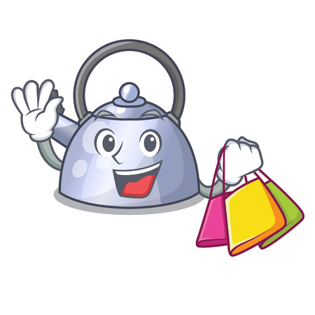 Shopping steel whistling kettle character to make drink vector illustration