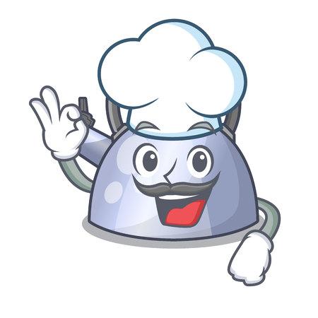 Chef-kok staal fluitende ketel karakter om drank vectorillustratie te maken
