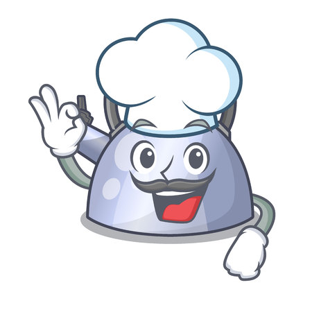 Chef steel whistling kettle character to make drink vector illustration