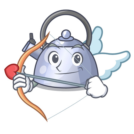 Cupid cartoon whistling kettle for gas cooker vector illustration  イラスト・ベクター素材