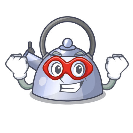 Super hero steel whistling kettle character to make drink vector illustration