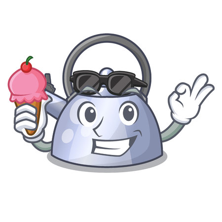 With ice cream steel whistling kettle character to make drink vector illustration
