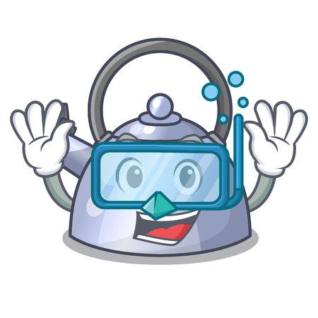 Diving steel whistling kettle character to make drink vector illustration Stock Illustratie