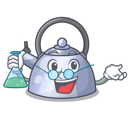 Professor steel whistling kettle character to make drink vector illustration Stock Illustratie