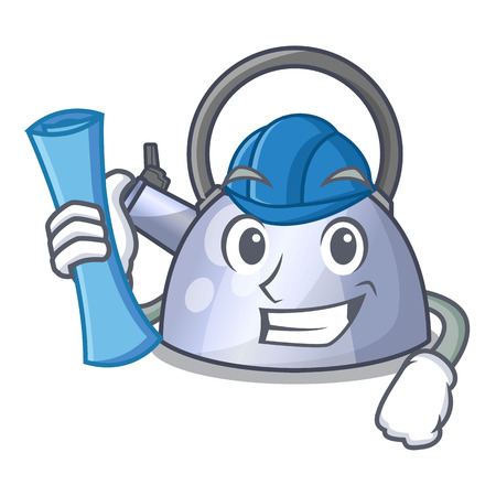 Architect steel whistling kettle character to make drink vector illustration