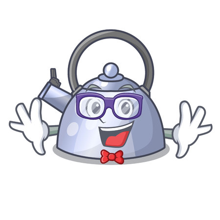 Geek steel whistling kettle character to make drink vector illustration