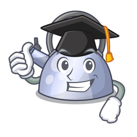 Graduation steel whistling kettle character to make drink vector illustration Stock Illustratie