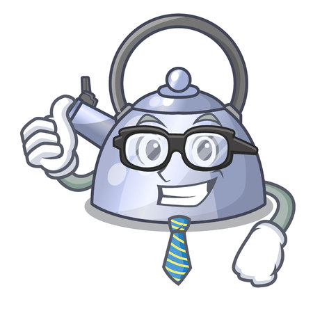 Businessman steel whistling kettle character to make drink vector illustration Stock Illustratie